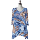 "Valentina Signa ""Denim & Cheetah"" Print Tunic in Blue Multi - 11784"