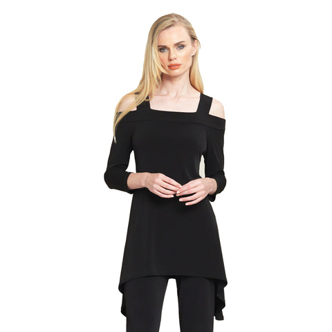 Clara Sunwoo Signature Cold Shoulder Tunic in Black - T101BK