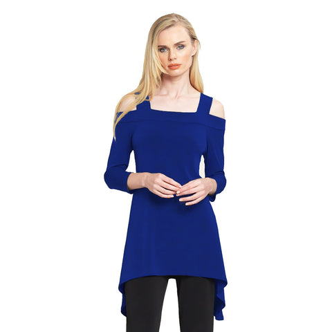 Clara Sunwoo Cold Shoulder Tunic in Cobalt - T101-COB - Sizes XS & 1X Only