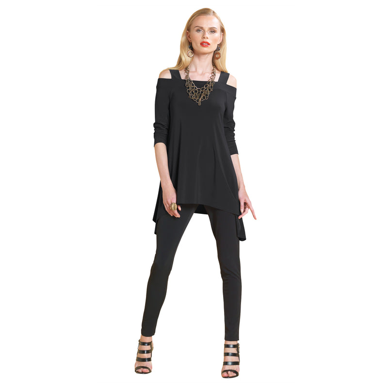 Clara Sunwoo Cold Shoulder Tunic in Black - T101BK