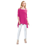 Clara Sunwoo Cold Shoulder Tunic in Fuchsia - T101-FUS - Size M Only