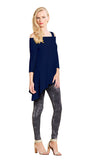 Clara Sunwoo Cold Shoulder Tunic in Navy - T101