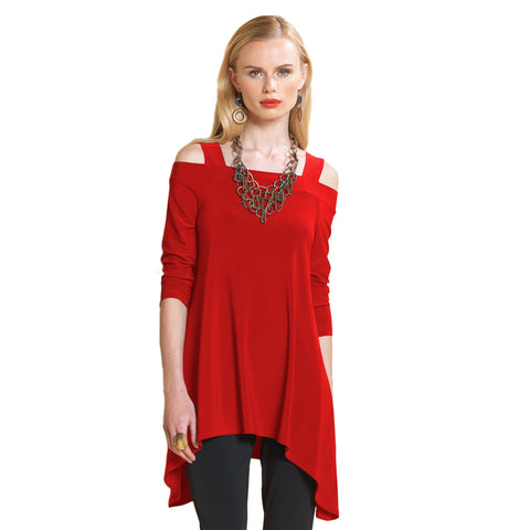 1ba05422042 Clara Sunwoo Cold Shoulder Tunic in Red T101-RD - Size XS Only