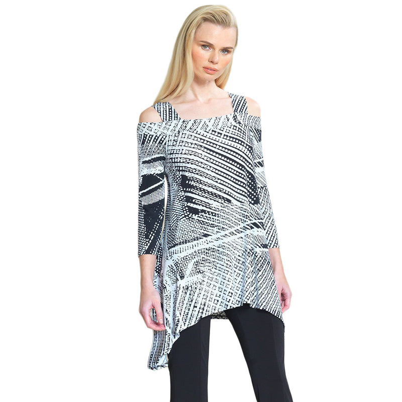 Clara Sunwoo Cold-Shoulder Mixed Print Tunic in Black & White - T101P-BW - Size XS Only