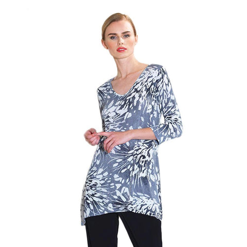 Starburst Print V-Neck Tunic in Black - Featured on Today Show! ♥ T103P4-BLK - Sizes XS & S Only