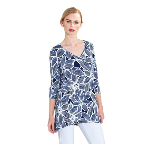 Just In!  ♥ Sunflower Print V-Neck Tunic in Navy/White - T103P7-NVY