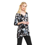 Clara Sunwoo Foliage Print V-Neck Tunic in Black/Taupe - T103P8 - Sizes S, M & 1X
