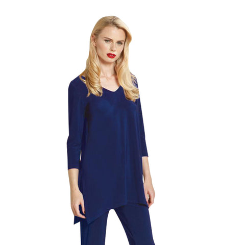 Clara Sunwoo V-Neck Side Vent Tunic in Cobalt - T103-BLU