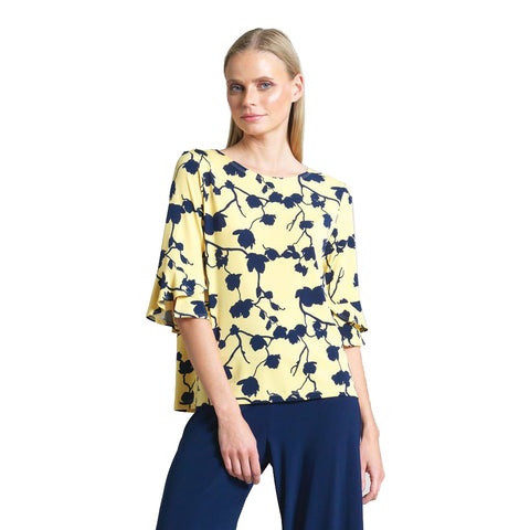 Clara Sunwoo Floral Print Tulip Cuff Top in Yellow/Navy - T10P