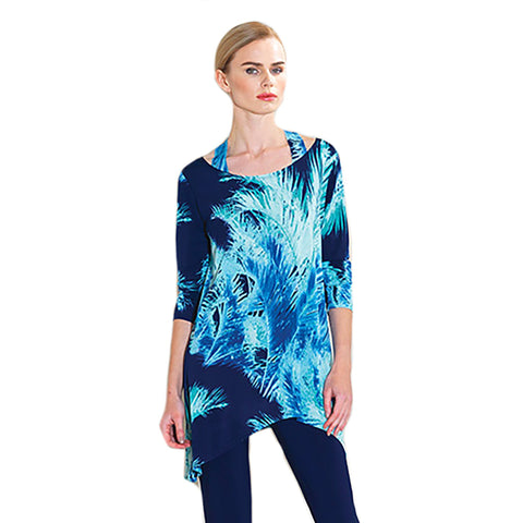 Clara Sunwoo Tropical Palm Print Racer Back Tunic in Navy Multi - T120P