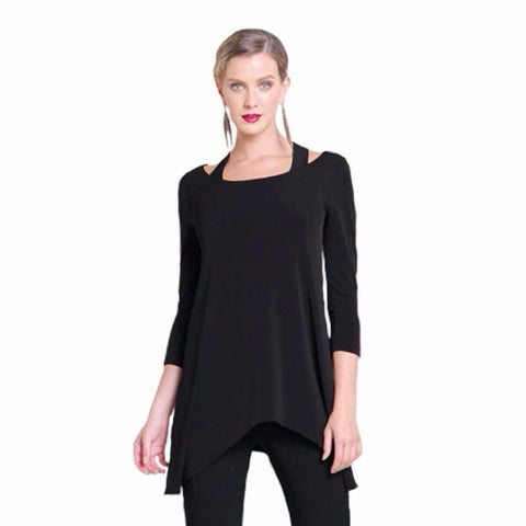 Clara Sunwoo Racer Back Illusion Tunic with Soft Flow Hem in Black - T120