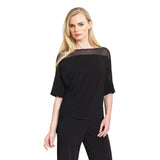 Clara Sunwoo Mesh Trimmed Loose Cut Top in Black - T121M-BLK