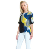 Clara Sunwoo Watercolor Print Loose Cut Crepe Knit Top - Yellow Multi -T121P8