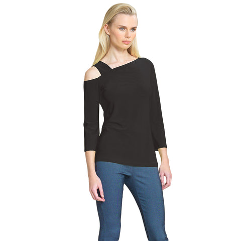 Clara Sunwoo Drop Shoulder Bell Sleeve Top in Black - T134-BLK