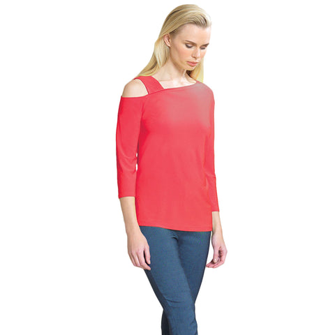 Clara Sunwoo Drop Shoulder Bell Sleeve Top in Coral - T134-COR - Sizes XS, S, XL & 1X Only