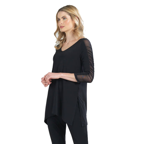 Clara Sunwoo Shirred Sleeve V-Neck Tunic in Black - T14-BLK - Size XS Only