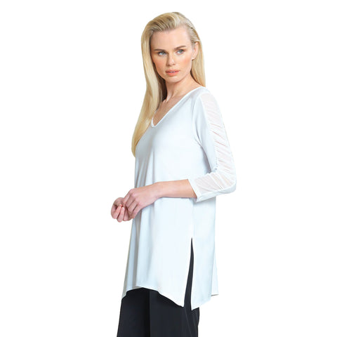 Clara Sunwoo Side Slit V-Neck Tunic with Ruched Sleeve Detail in White - T14-WHT