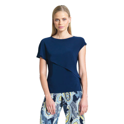 Just In! Clara Sunwoo Solid Draped Overlay Cap Sleeve Top in Navy - T15-NVY