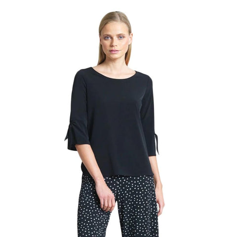 Just In! Solid Tie Cuff Top in Black - T16-BLK