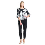 Clara Sunwoo Floral Burst Print Tie Cuff Top in Black/Rose - T16P