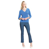 Clara Sunwoo Soft Stretch Knit V-Neck Top in Periwinkle - T19-PER - Size 1X Only