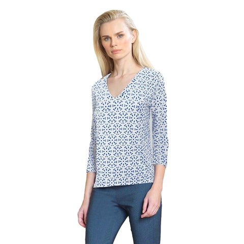 Clara Sunwoo Dot Print V-Neck Top - White/Navy - T19E