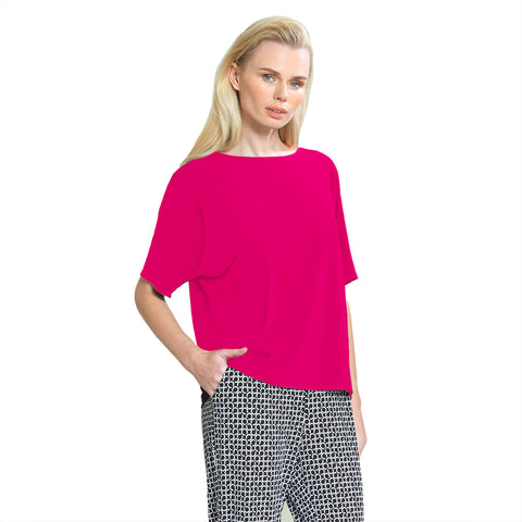 Clara Sunwoo Solid V-Cross Bar Back Cut-Out Top in Pink - T20-PNK