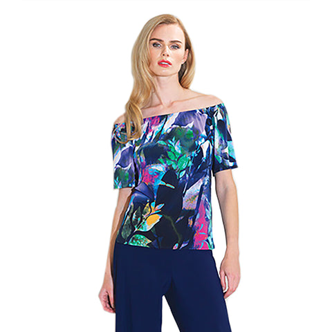 Clara Sunwoo Tropical Print Peasant Top - Navy Multi - T200P64