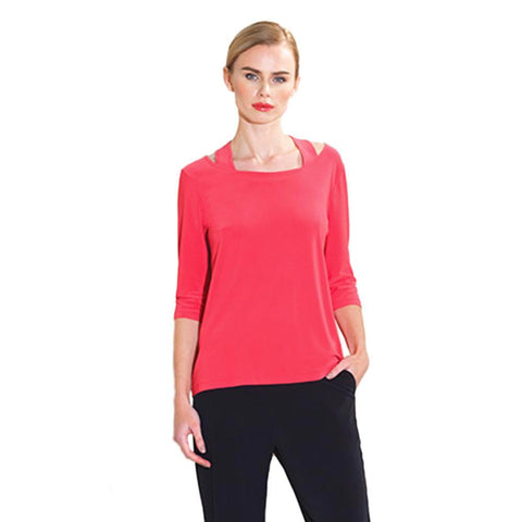 Clara Sunwoo Faux Racer Back Top in Coral - T204-CRL - Size S Only