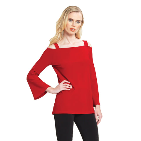 Clara Sunwoo Fitted Open Shoulder Bell Sleeve Top in Red -T205-RD