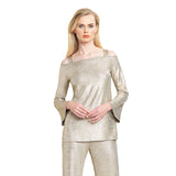 Clara Sunwoo Lamé Open Shoulder Top in Champagne - T205H - Size S Only