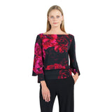 New! Clara Sunwoo Peony Print Boat Neck Top with Peekaboo Cuffs in Red/Black- T206P4