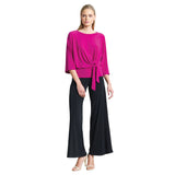 Clara Sunwoo Side Tie 3/4 Length Sleeve Top in Magenta - T207-MAG