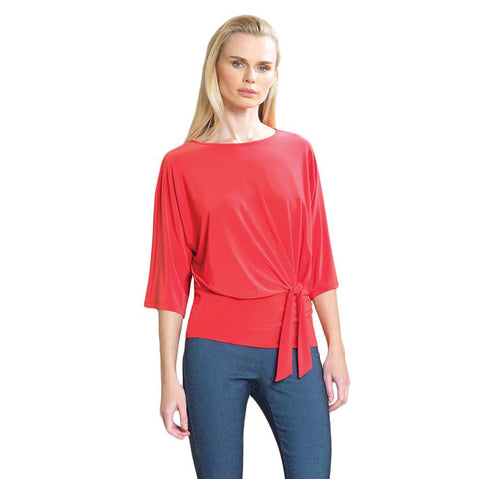 Clara Sunwoo - Blousson Side Tie Detail Top in Coral - T207C-CRL