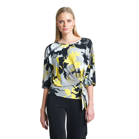 Clara Sunwoo Abstract Print Side Tie Top - T207P1 - Size 1X Only