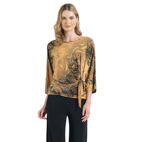 Clara Sunwoo Luxe Paisley Print Top with Side Tie in Brown/Multi - T207P4-BRN