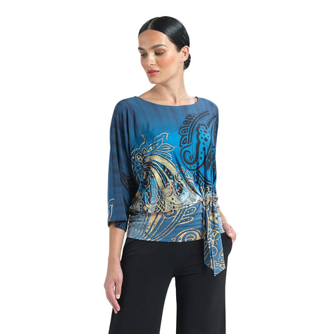Clara Sunwoo Paisley Print Top with Side Tie - T207P4 - Sizes M & XL Only