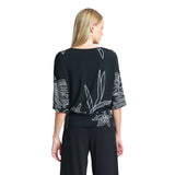 Clara Sunwoo Bouquet Print Side Tie Top in Black/White - T207P5 - Sizes S & L