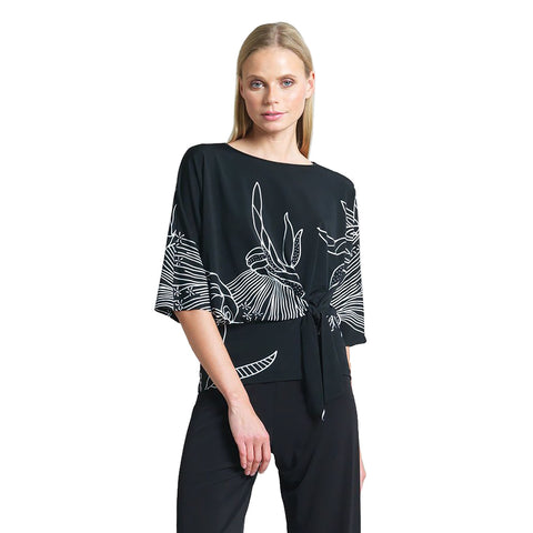Just In! Clara Sunwoo Bouquet Print Side Tie Top in Black/White - T207P5