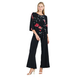 Clara Sunwoo Floral Top with Side Tie in Crimson Rose/Black - T207P6