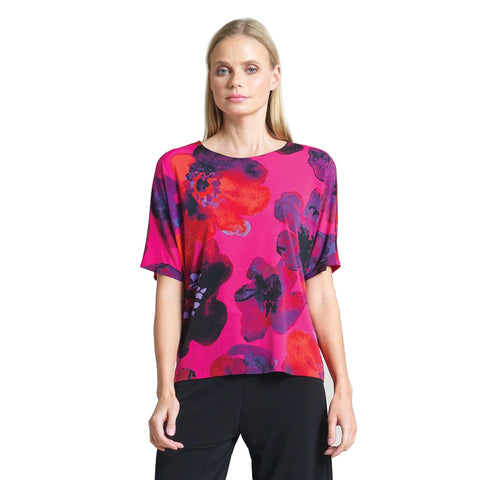 Clara Sunwoo Poppy Print Top w/Keyhole Cut Back - T20P14 - Sizes XS & S Only