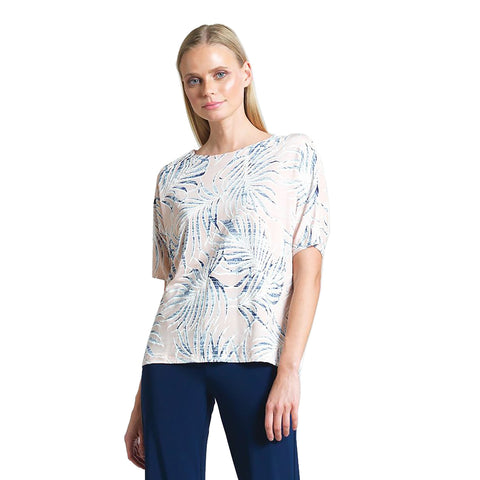 Clara Sunwoo Tropical Print Top with Triangular Keyhole Back - T20P2
