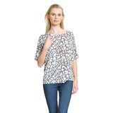 Clara Sunwoo Dotted Print V-Cross Bar Cut-Out Back Top in Beige - T20P3-BGE