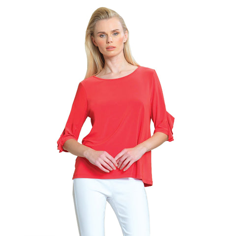 Clara Sunwoo Solid Ruffle Cuff Top in Coral - T213-COR - Size XS Only