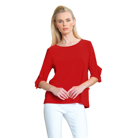 Clara Sunwoo Solid Ruffle Sleeve Top in Cherry Red - T213-RD - Size XS, S, 1X Only