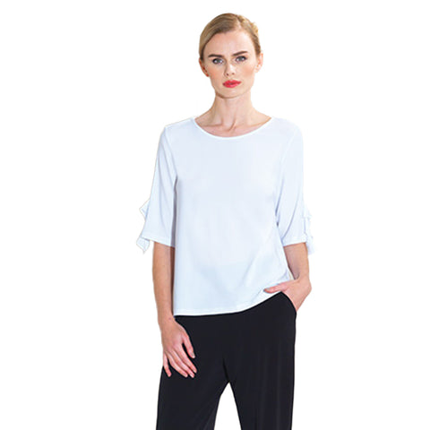 Clara Sunwoo Solid Ruffle Sleeve Top in White - T213-WHT - Sizes S, L & 1X Only