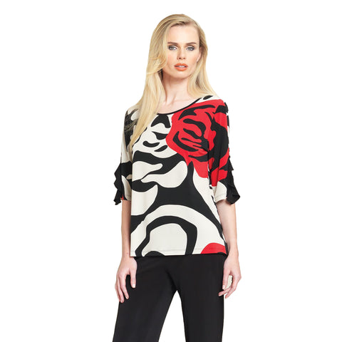 Clara Sunwoo Rose Stamp Print Ruffle Cuff Top - Beige/Red - T213P2