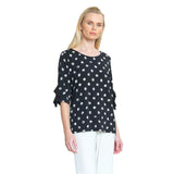 Clara Sunwoo - Mini Rose Print Ruffle Cuff Top - Black/White - T213P4-BLK - Sizes XS & XL Only