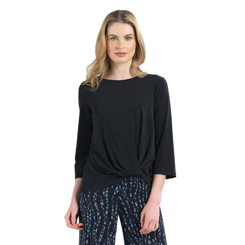 Clara Sunwoo Solid Front Center Twist Top in Black - T214-BLK - Size XL Only