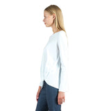 Clara Sunwoo Modal Cotton Twist Hem Top in White -  T214LMC-WT